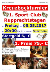 Kreuzbockturnier am 05.05.2017 im Sportheim